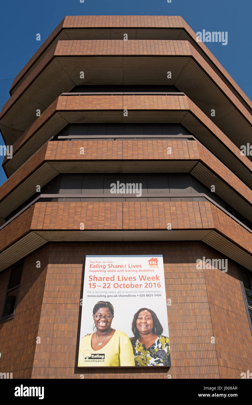 billboard advertising ealing council's shared lives week 2016, at the council offices in ealing, west london, - Stock Image