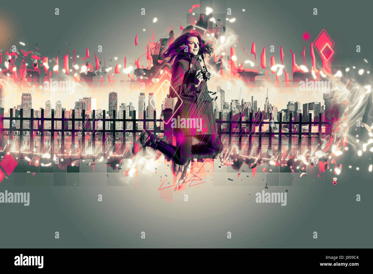 Young woman jumping in front of New York city. Architekt effect added. - Stock Image