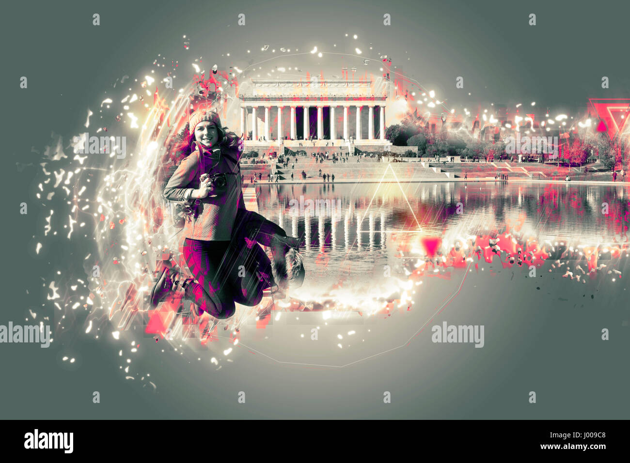 Young woman jumping in front of Lincoln Memorial at the National Mall. Washington DC. Architekt effect added in - Stock Image