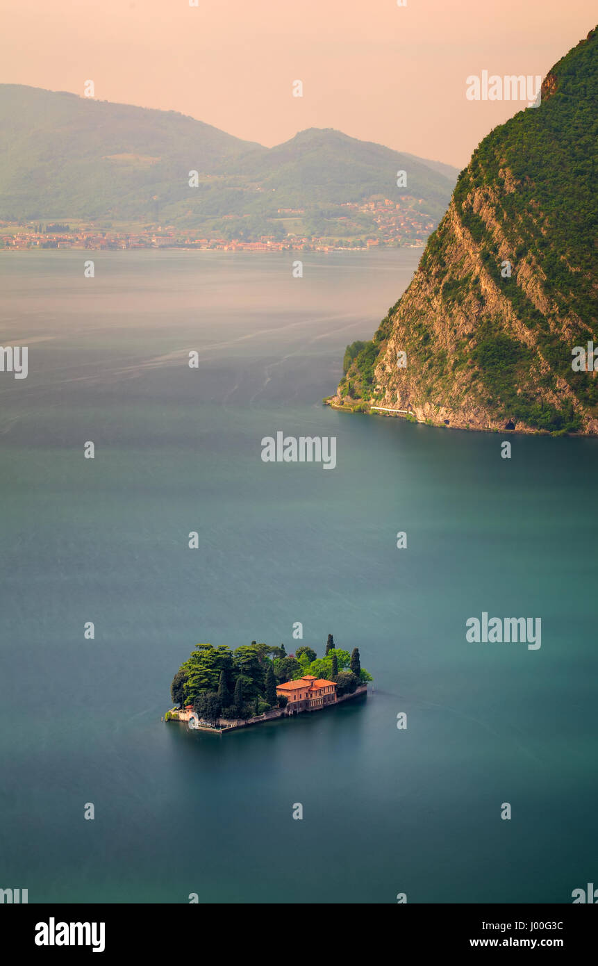 San Paolo island on Iseo Lake, Italy - Stock Image