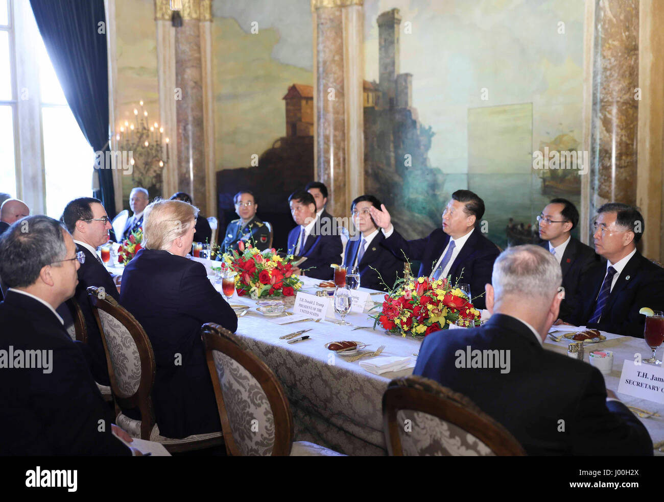 Mar-a-Lago, Florida, USA. 07th Apr, 2017. Chinese President Xi Jinping attends a working luncheon hosted by U.S. - Stock Image