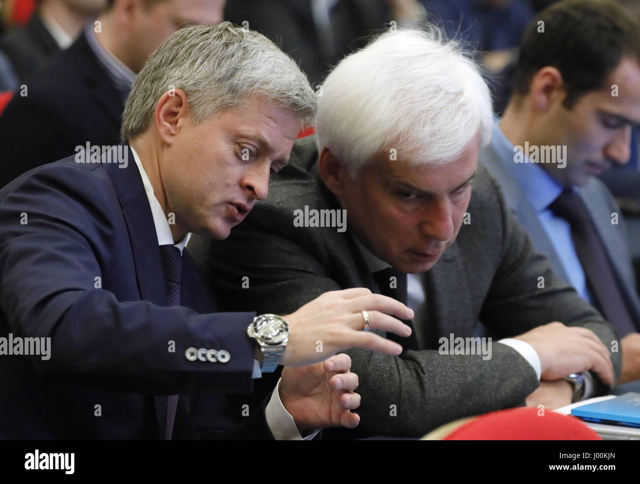 Moscow, Russia. 8th Apr, 2017. The president of Russia's Football National League (FNL), Igor Yefremov (L) at - Stock Image