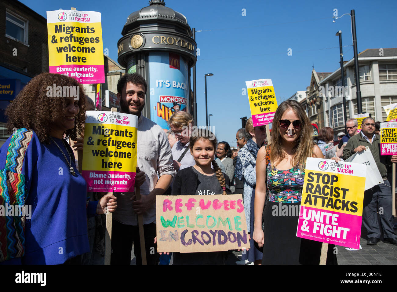 Croydon, UK. 8th Apr, 2017. Local people join a Unity protest organised by Stand Up To Racism following the recent - Stock Image