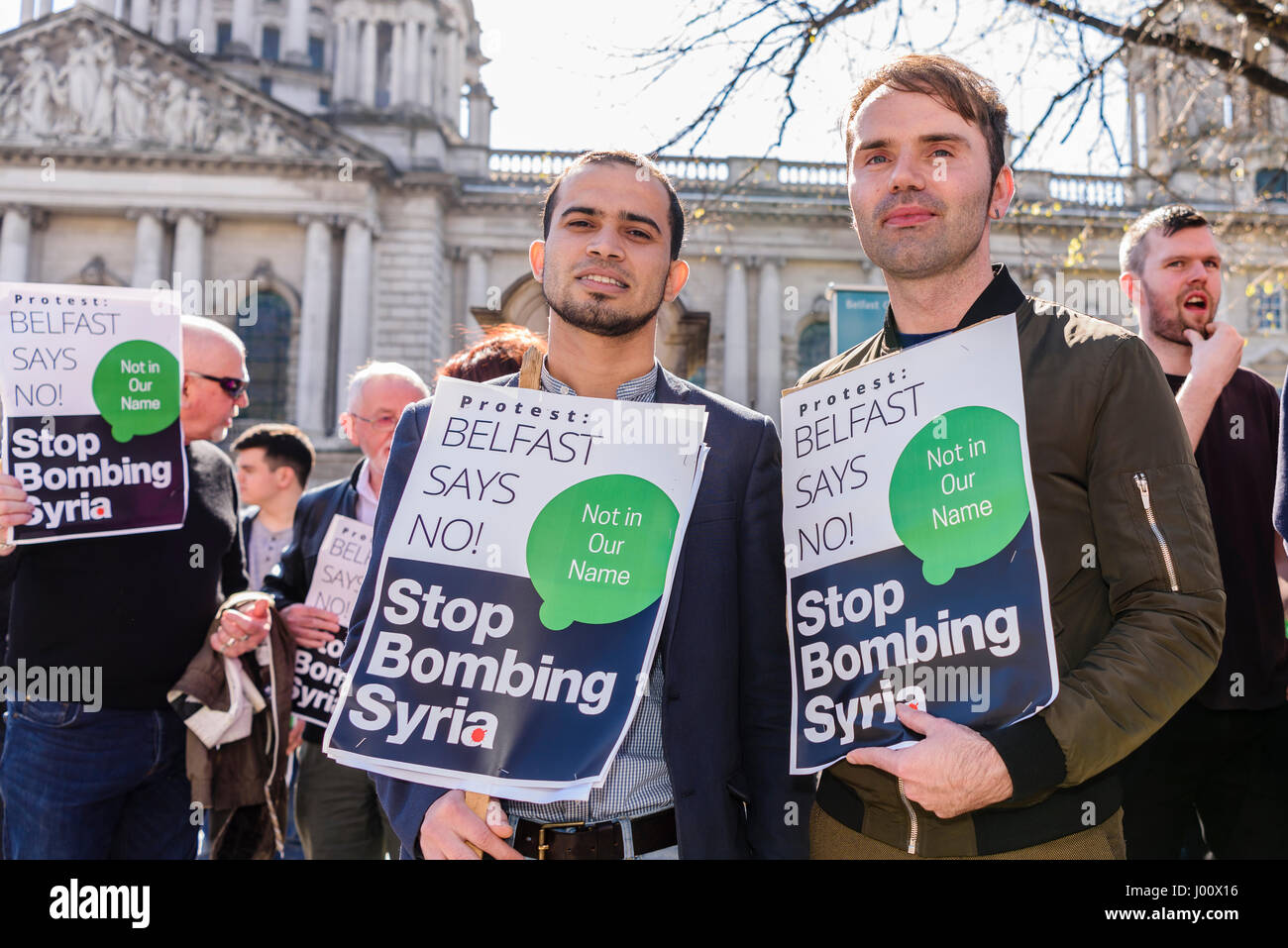 Belfast, Northern Ireland.  08 Apr 2017 - Protest against Syrian bombings by Donald Trump, Belfast - Stock Image