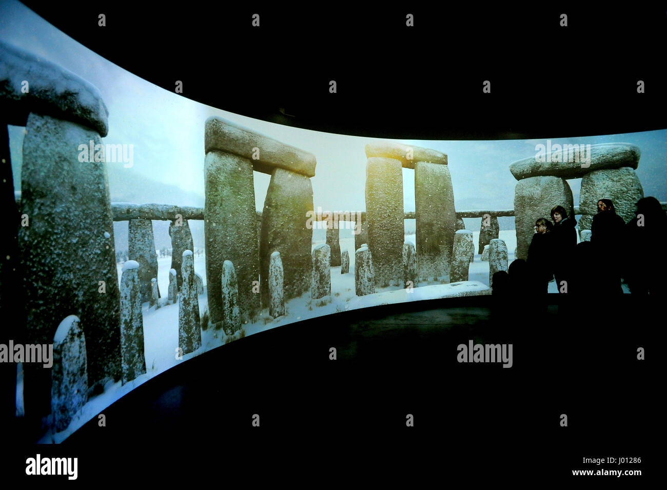 Winter at Stonehenge display, Stonehenge Visitor Centre, England, 2015. The new visitor centre run by English Heritage - Stock Image