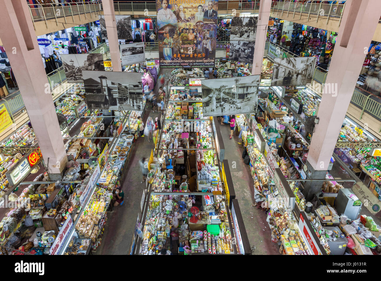 Chiang Mai, Thailand - August 27, 2016: High angle view of the Warorot market stalls on August 27, 2016 in Chiang - Stock Image