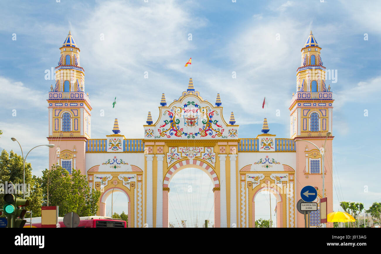 SEVILLE - APRIL 23: An elaborate gate is erected each year during the Feria de Abril on April 23, 2015 in Seville, - Stock Image