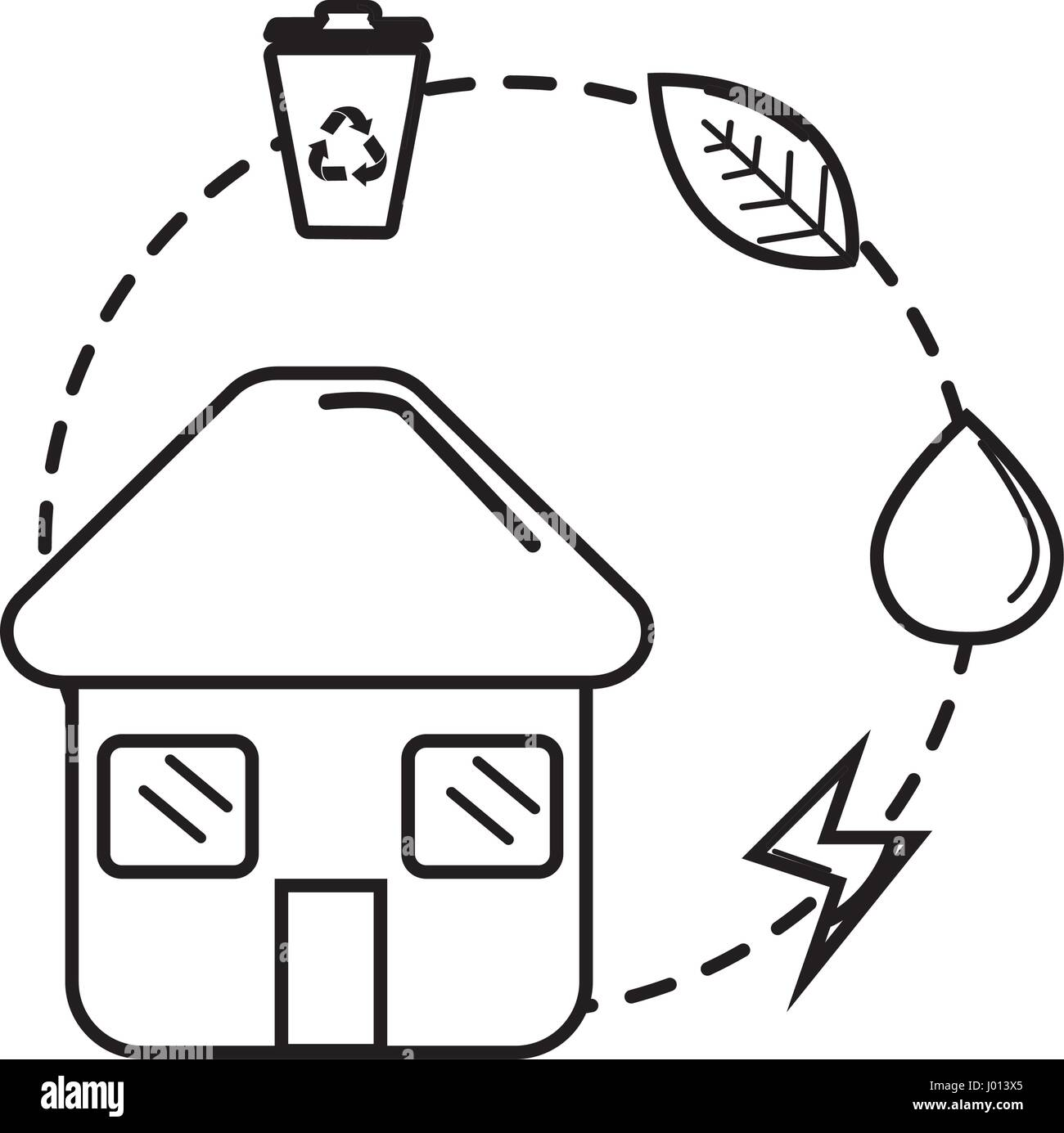 figure house with save energy, water and recycle campaign - Stock Vector