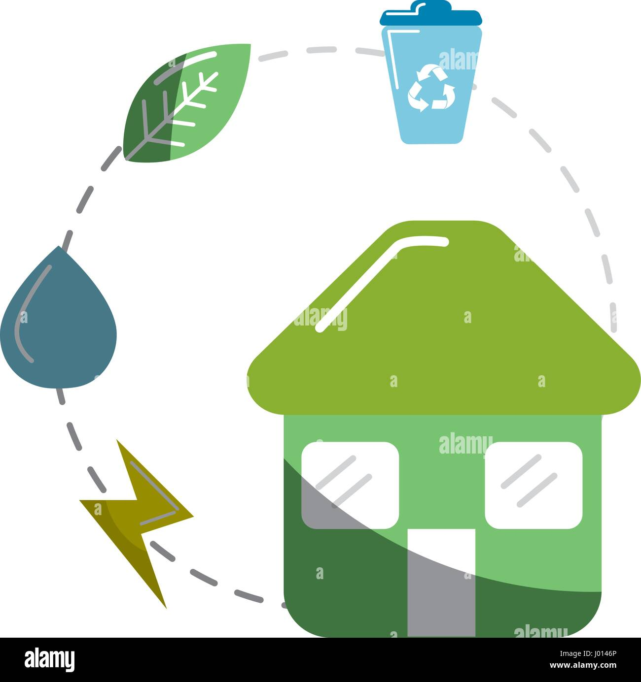 house with save energy, water and recycle campaign - Stock Vector