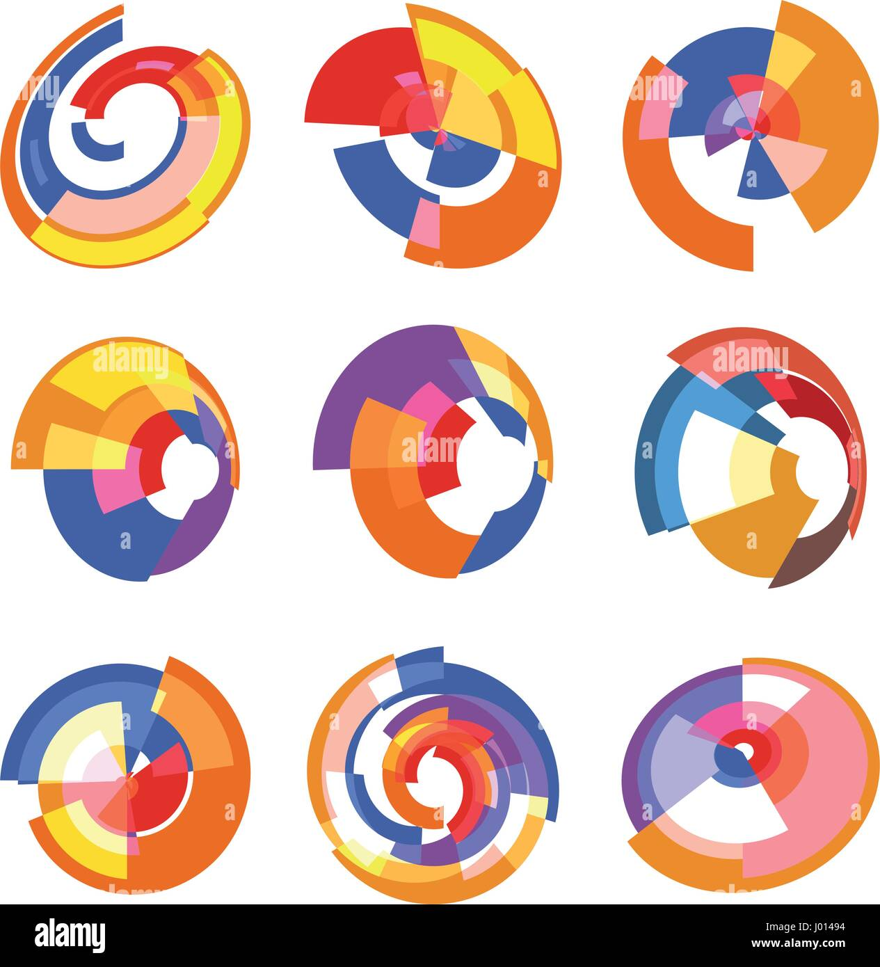Isolated Abstract Colorful Pie Chart Logos Set Round Shape Diagram Logotypes Collection Infographic Element Vector Illustration