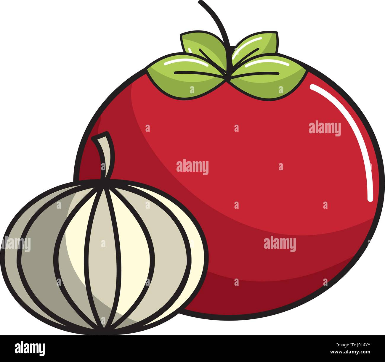 tomato and garlic vegetable icon - Stock Vector