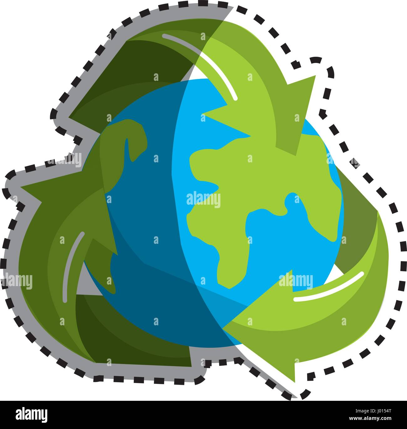 Sticker Earth Planet Inside Of Recycling Symbol Stock Vector Art