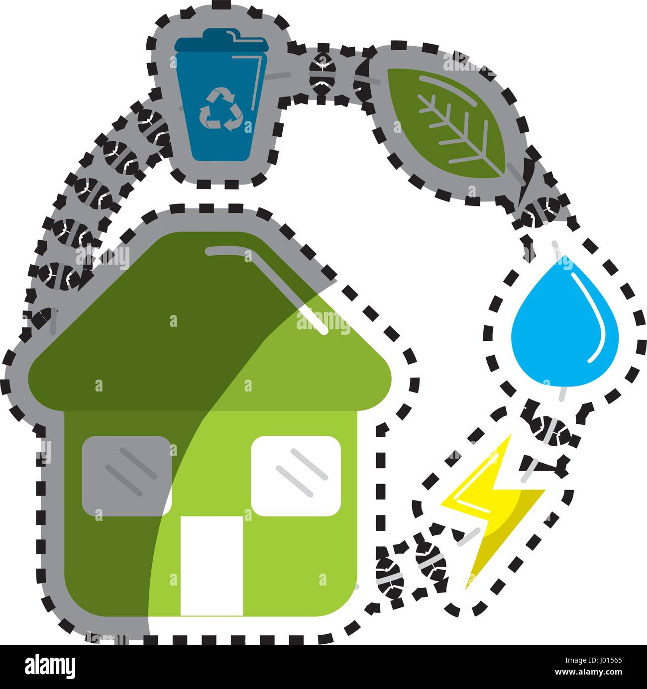 sticker house with save energy, water and recycle campaign - Stock Vector