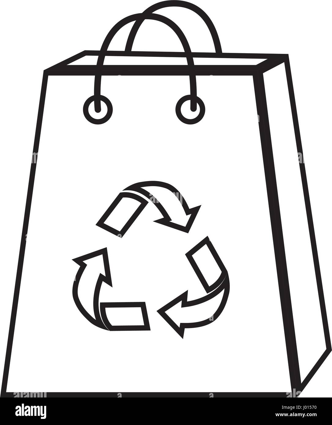 silhouette bag with reduce, reuse and recycle symbol - Stock Image