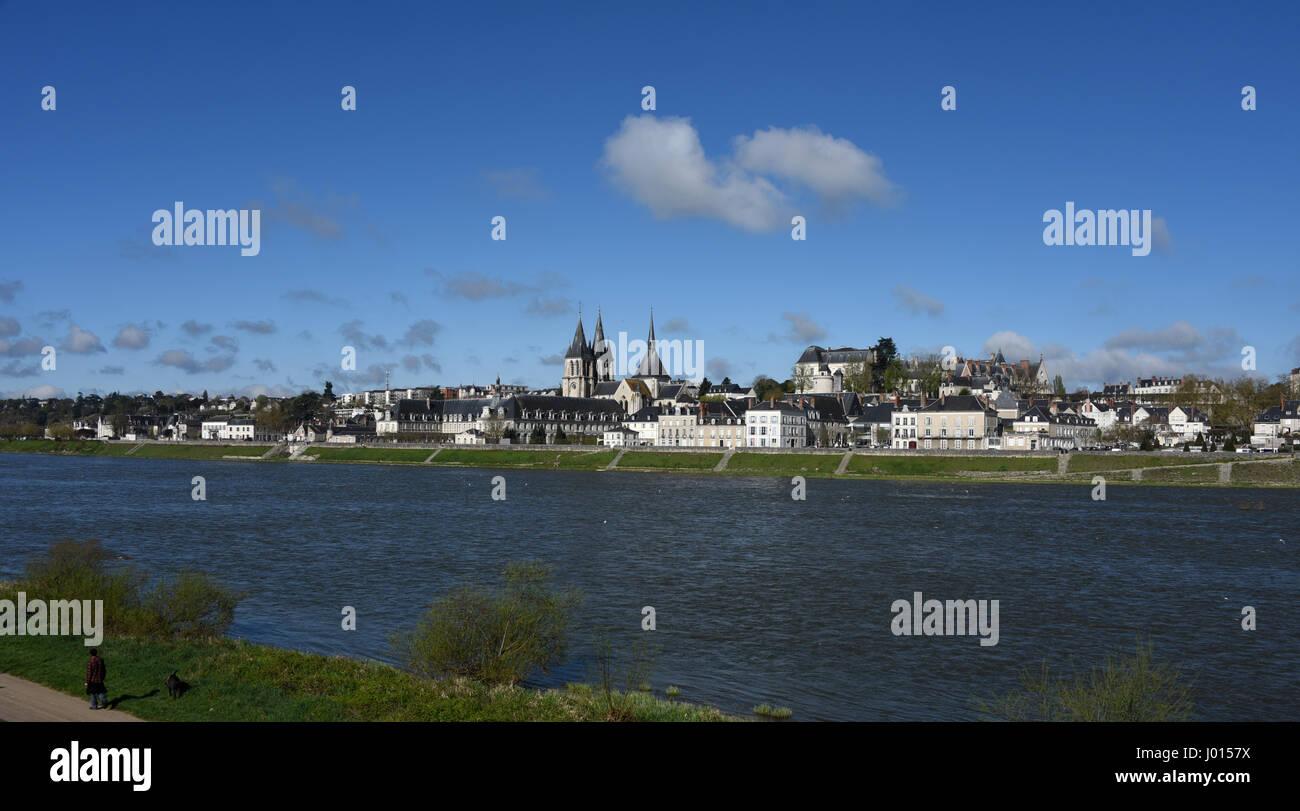 Blois, castle, Saint-Nicolas church and Abbaye Saint-Laumer de Blois, Loire river, Loire valley, Loir-et-Cher, Centre - Stock Image