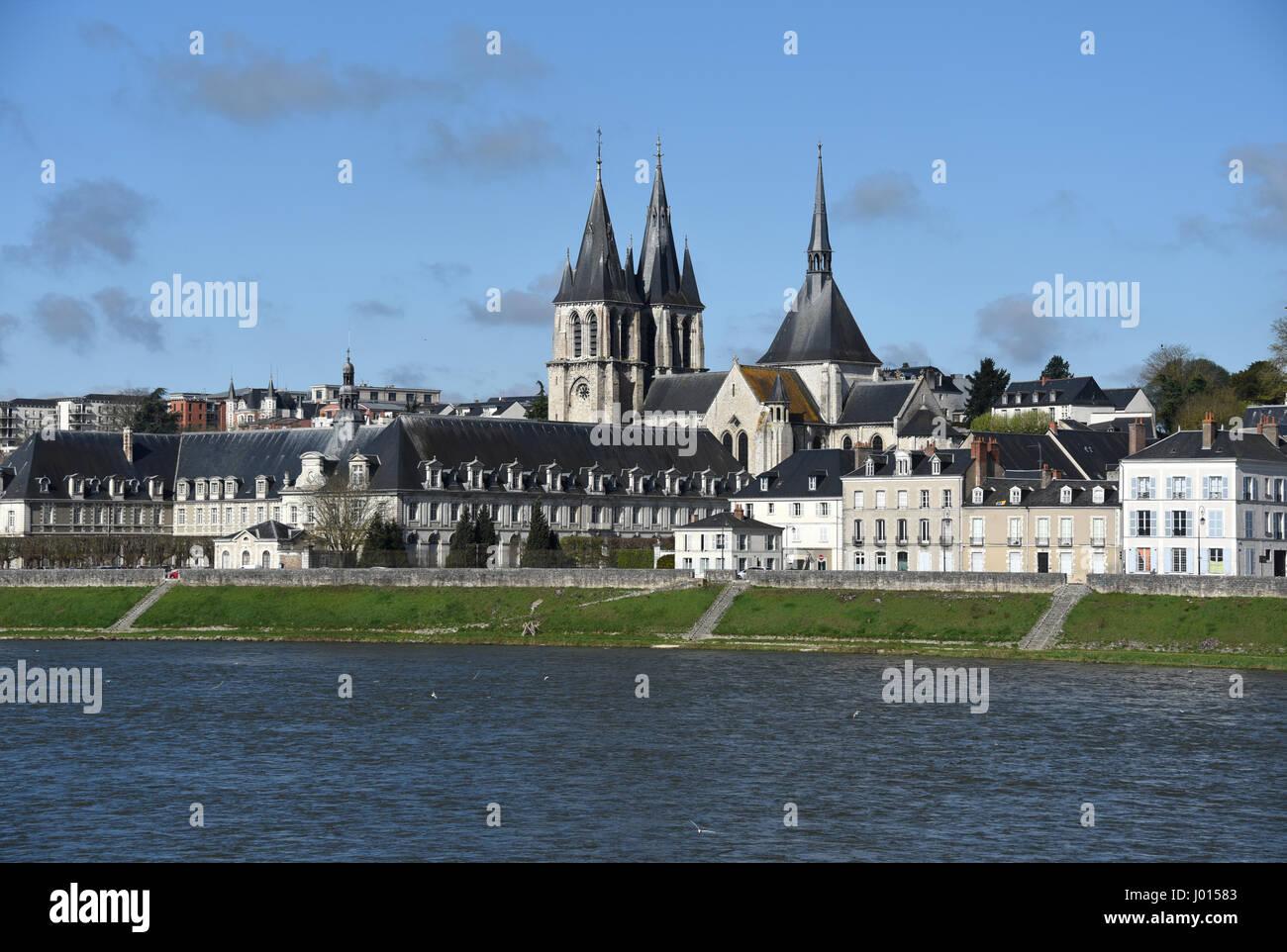 Blois, Saint-Nicolas church and Abbaye Saint-Laumer de Blois, Loire river, Loire valley, Loir-et-Cher, Centre-Val - Stock Image
