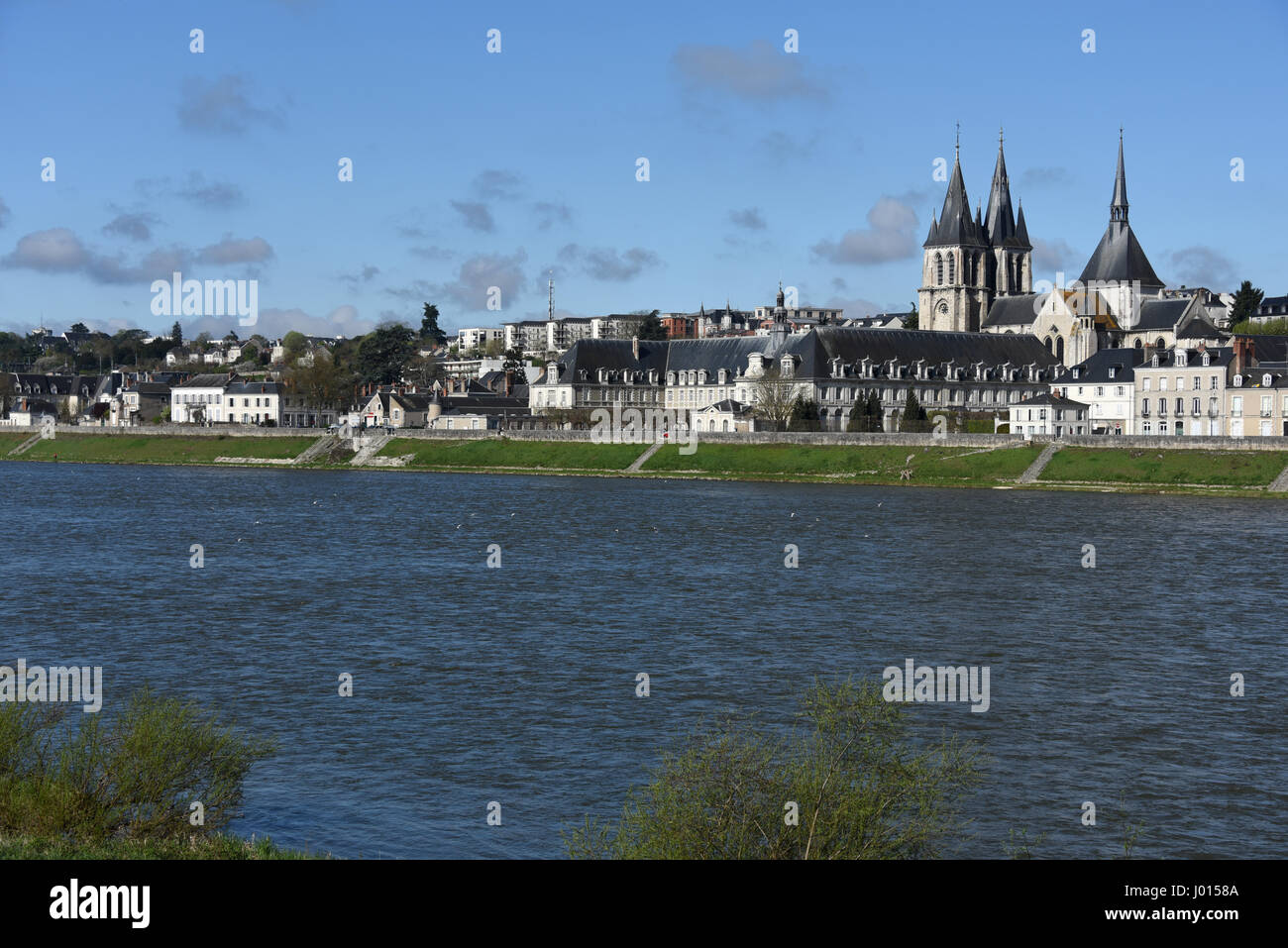Blois, Saint-Nicolas church and Abbaye Saint-Laumer de Blois, Loire river, Loire valley, Loir-et-Cher, Centre-Val Stock Photo
