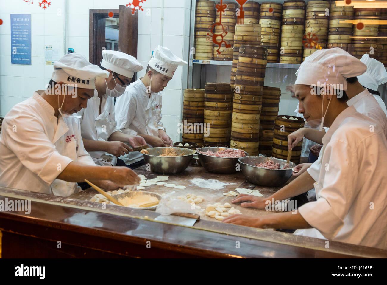 china shanghai kitchen chefs making dumpligs at nanxiang dumpling restaurant yuyuan garden - Shanghai Kitchen