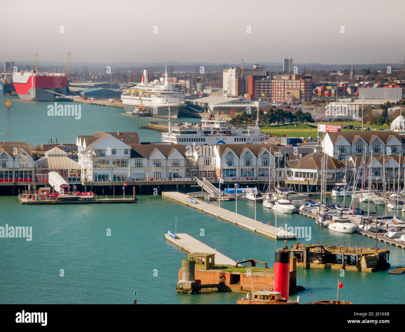 SOUTHAMPTON, UK - 27 MARCH 2017: Southampton Docks, Marina, and Boats in Working Harbour, England, United Kingdom - Stock Image