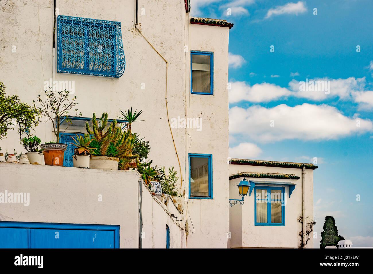 Sidi Bou Said, famouse village with traditional tunisian architecture. Stock Photo