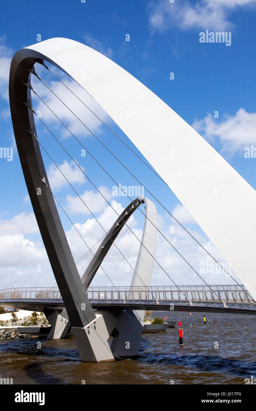 The Elizabeth Quay Pedestrian Bridge, Perth, Australia - Stock Image