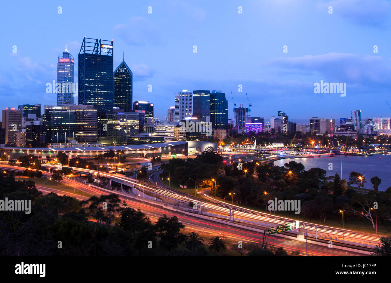 The City of Perth at Dusk, Australia - Stock Image