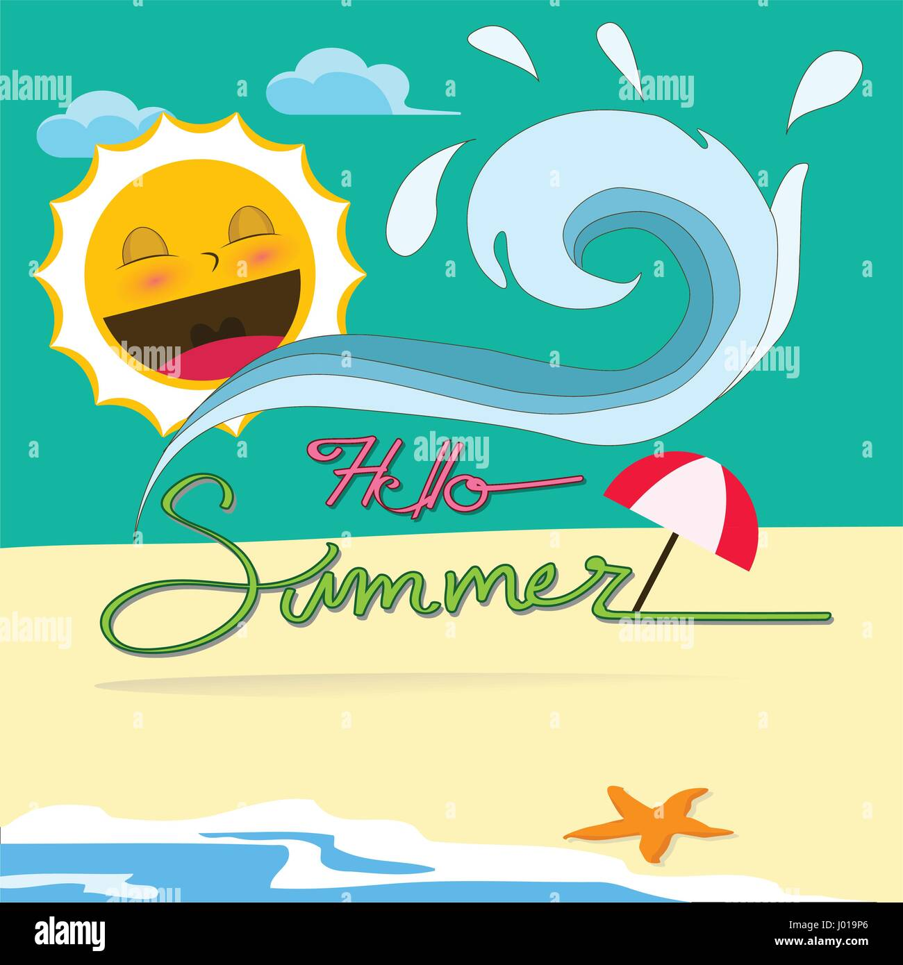 Hello Summer, hot summer beach vector - Stock Vector