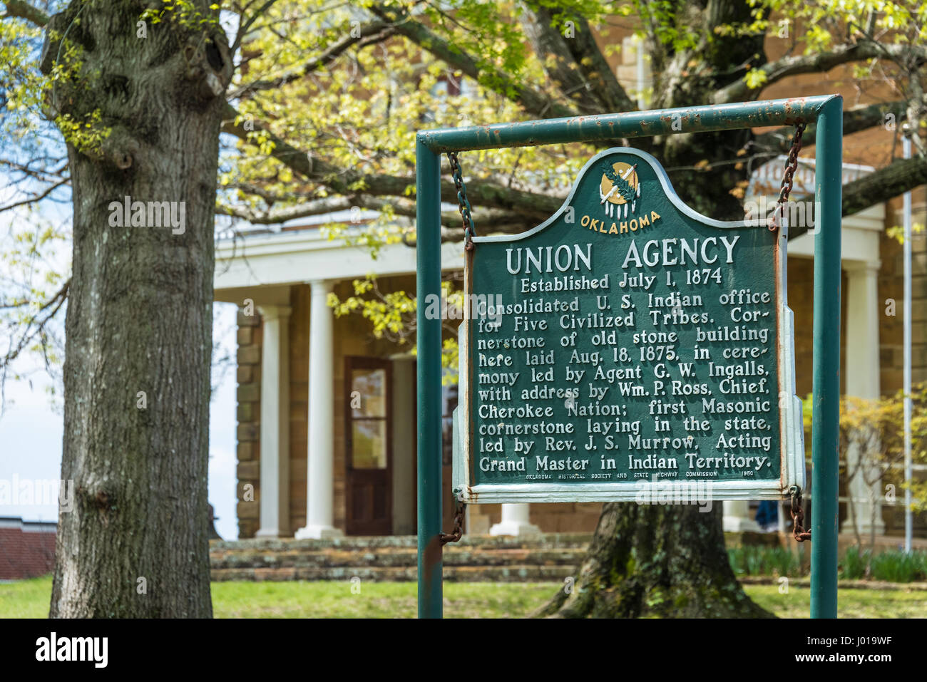 Historic marker sign for the 1874 Union Indian Agency building (now the Five Civilized Tribes Museum) in Muskogee, - Stock Image