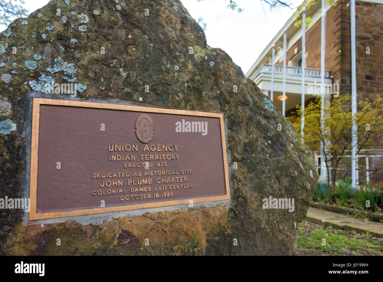 Rock marker commemorating the original Union Indian Agency building at The Five Civilized Tribes Museum in Muskogee, - Stock Image