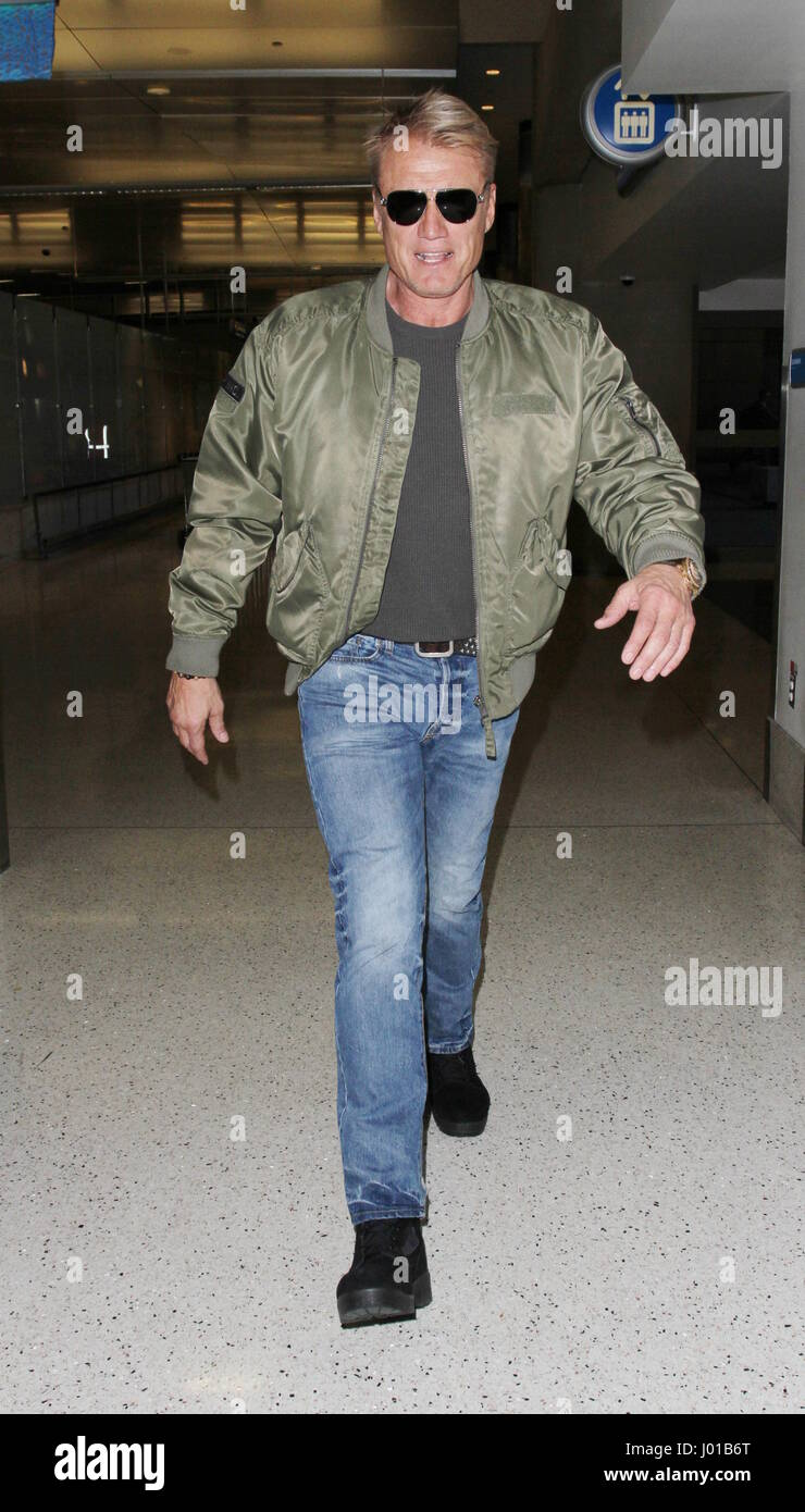 Dolph Lundgren departs from Los Angeles International Airport (LAX)  Featuring: Dolph Lundgren Where: Los Angeles, - Stock Image