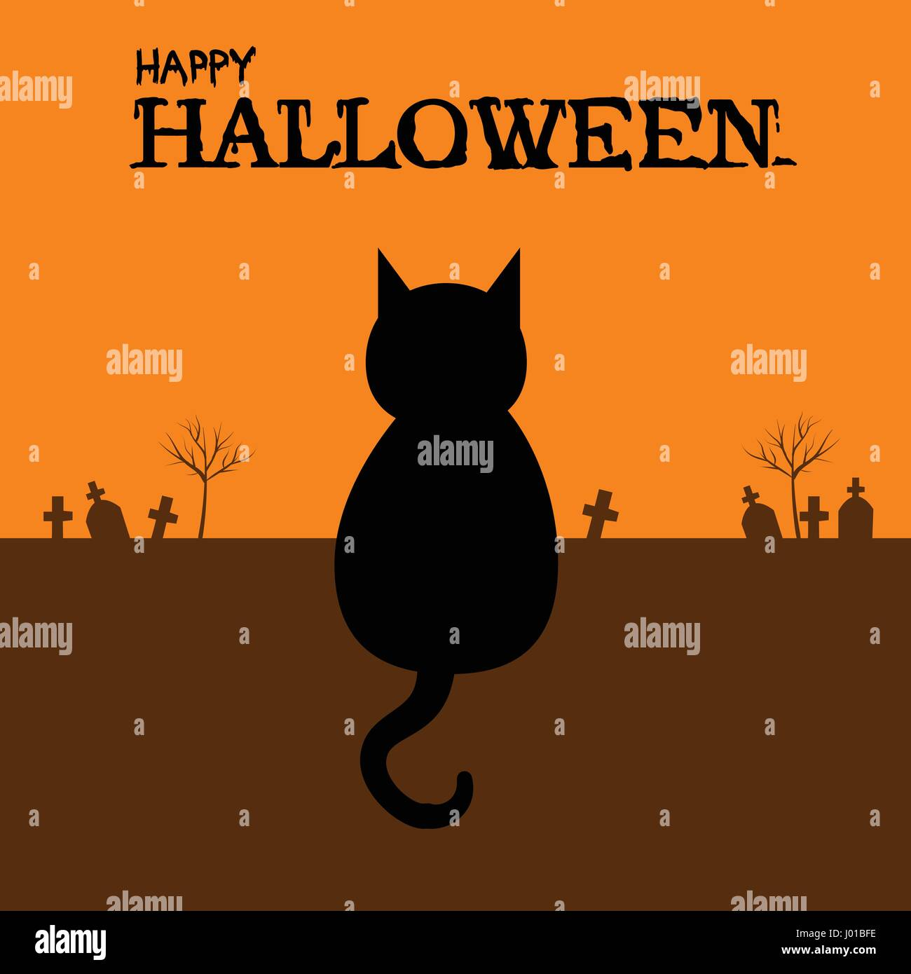 Happy Halloween with black cat sitting on ground in graveyard - Stock Vector