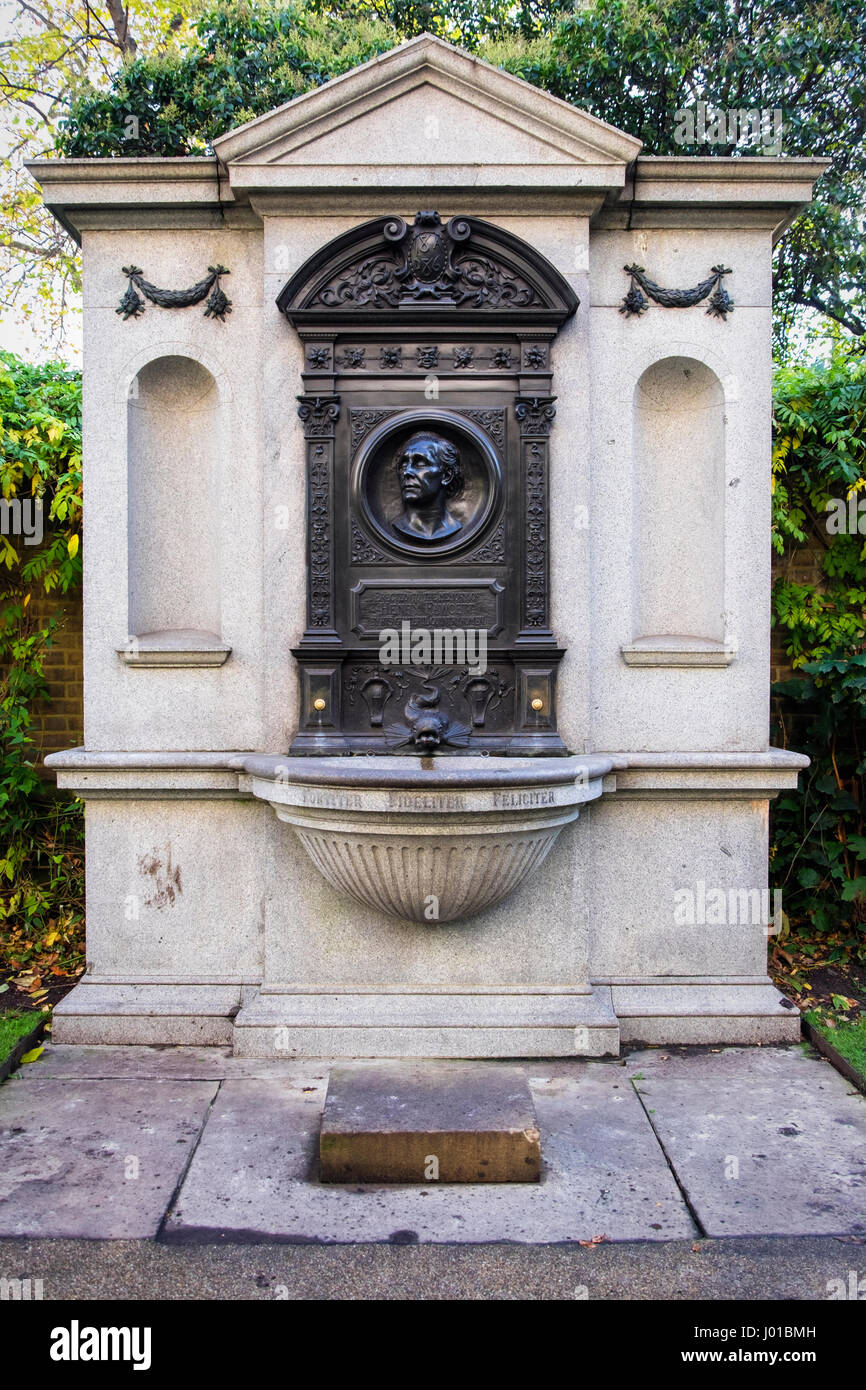 The Henry Fawcett Memorial is a memorial fountain at the Victoria Embankment Gardens, London, United Kingdom. - Stock Image