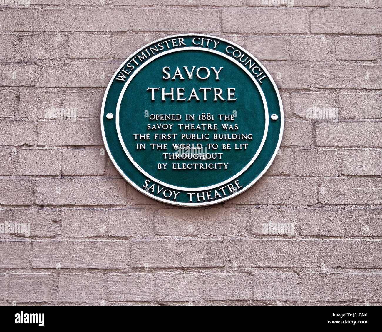 Savoy Theatre Green Plaque, First Public Building to be lit throughout by Electricity, London,England - Stock Image