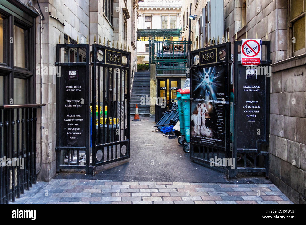 London Uk Savoy theatre stage door entrance. Historic English theater back door & London Uk Savoy theatre stage door entrance. Historic English Stock ...