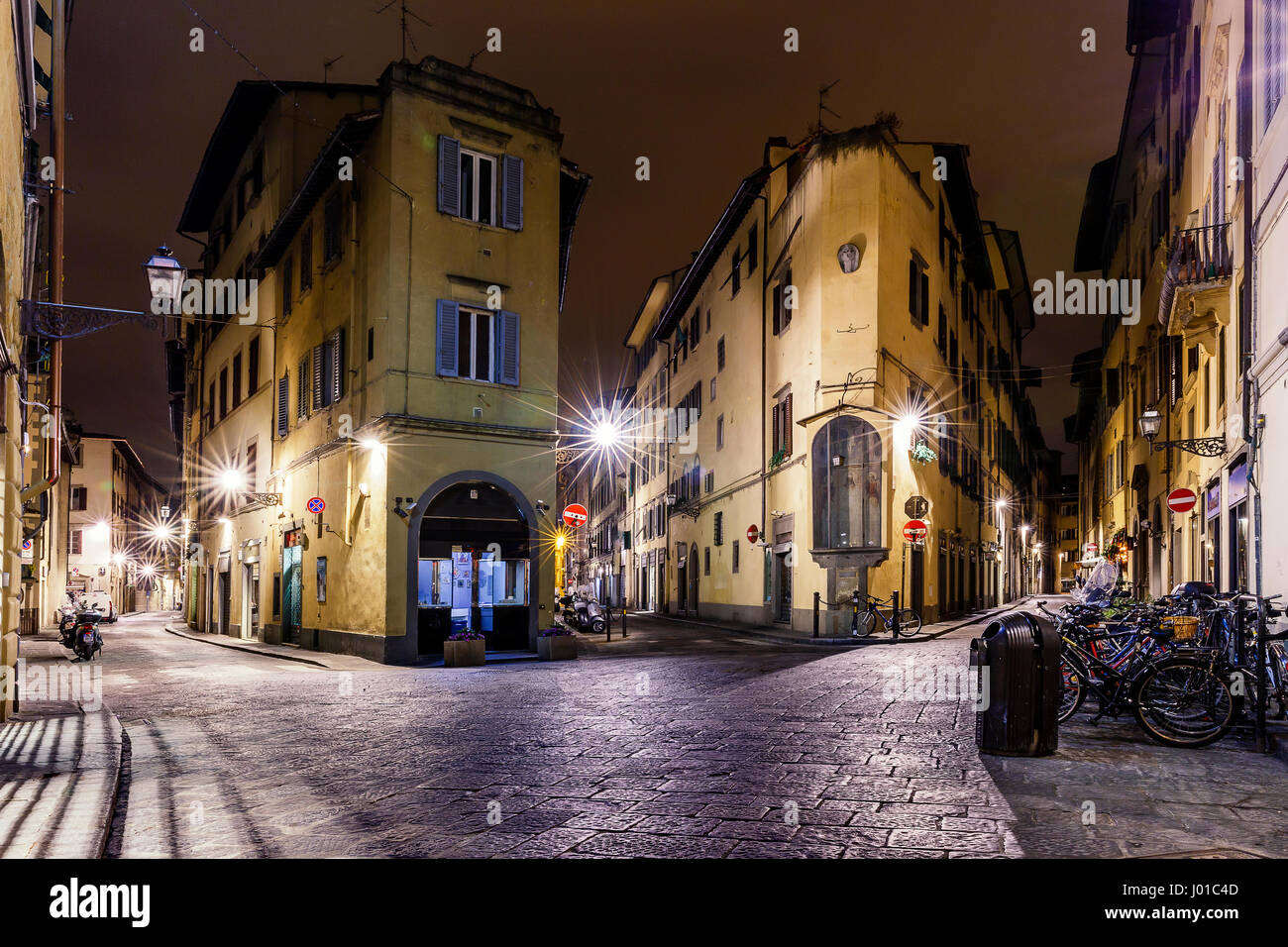 Night labyrinths of Florence.Italy - Stock Image