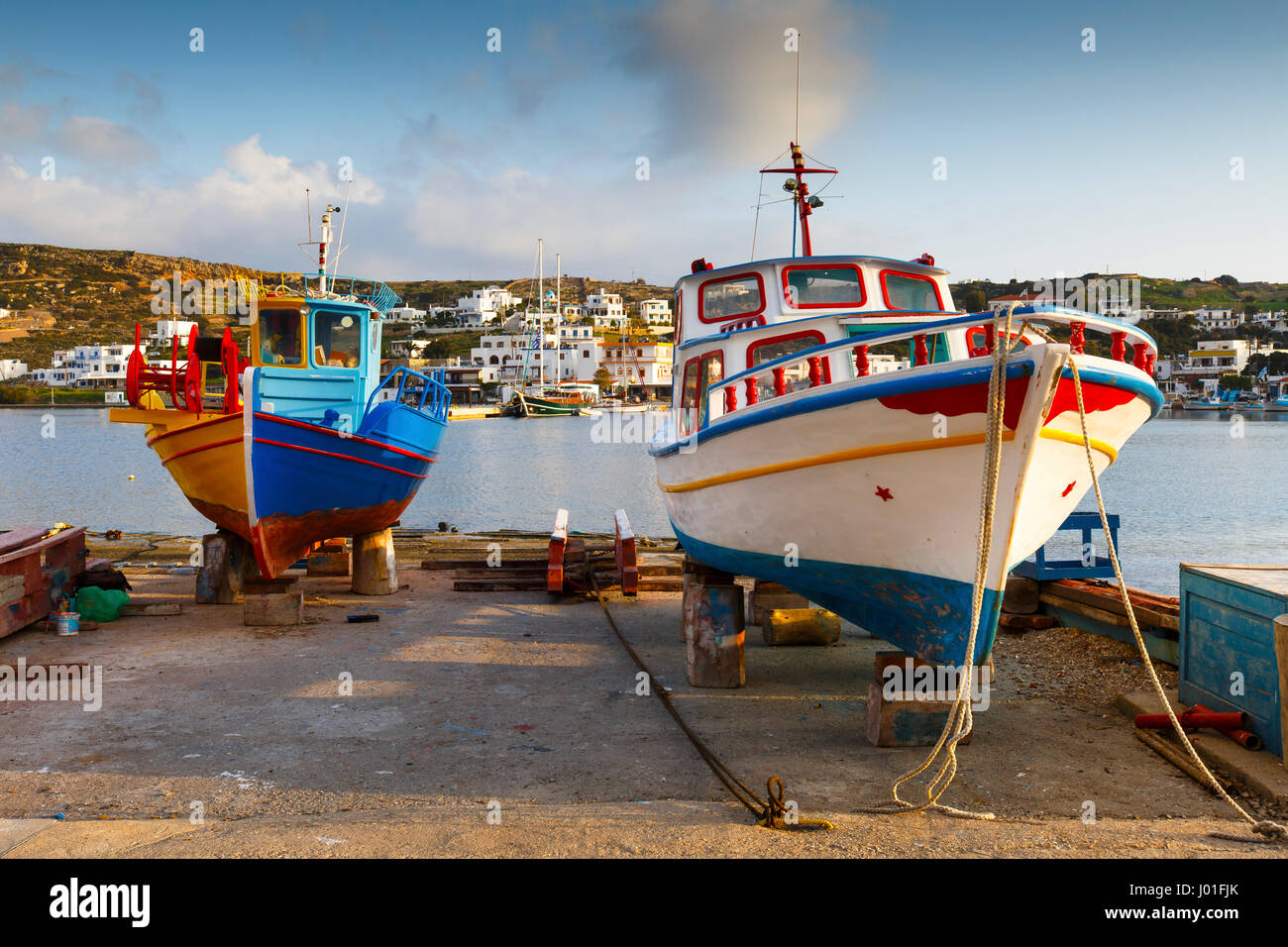 Harbour of Lipsi island in Dodecanese, Greece. - Stock Image