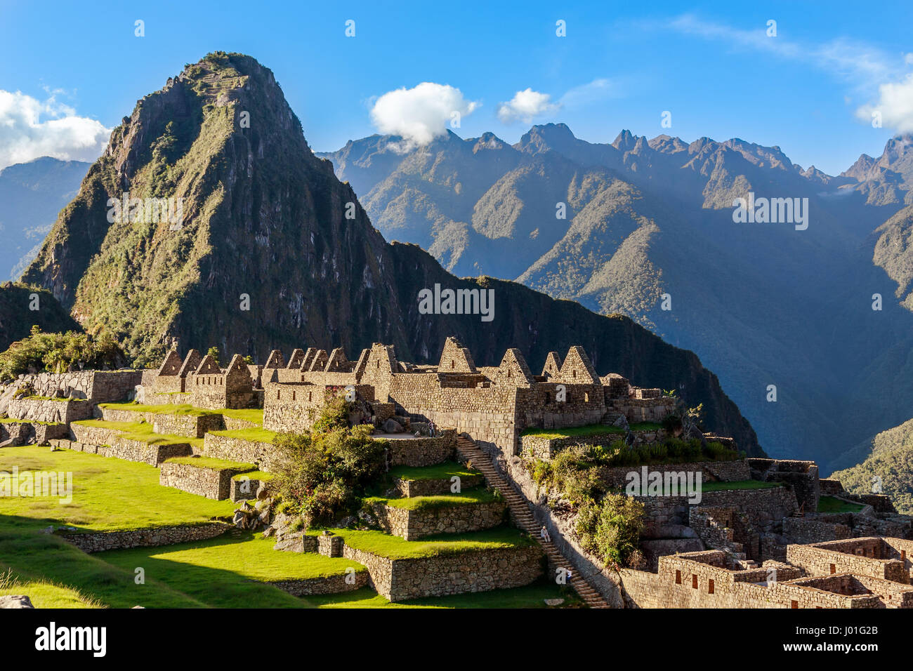 View from the top to old Inca ruins and Wayna Picchu, Machu Picchu, Urubamba provnce, Peru - Stock Image