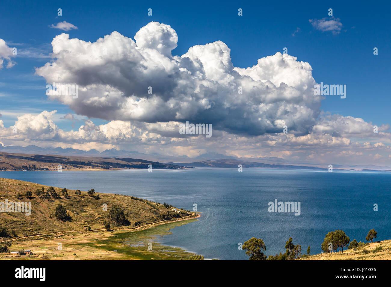 Clouds over Titticaca lake, Bolivia - Stock Image