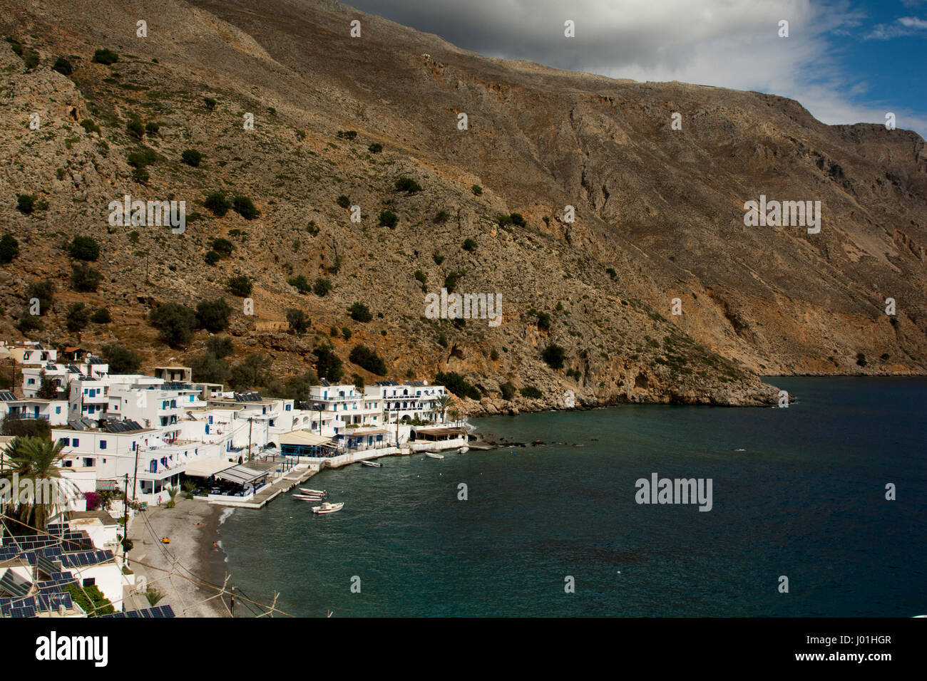 The fishing village Loutra at Crete's south coast has a very old history and turned into a touristic hotspot without Stock Photo