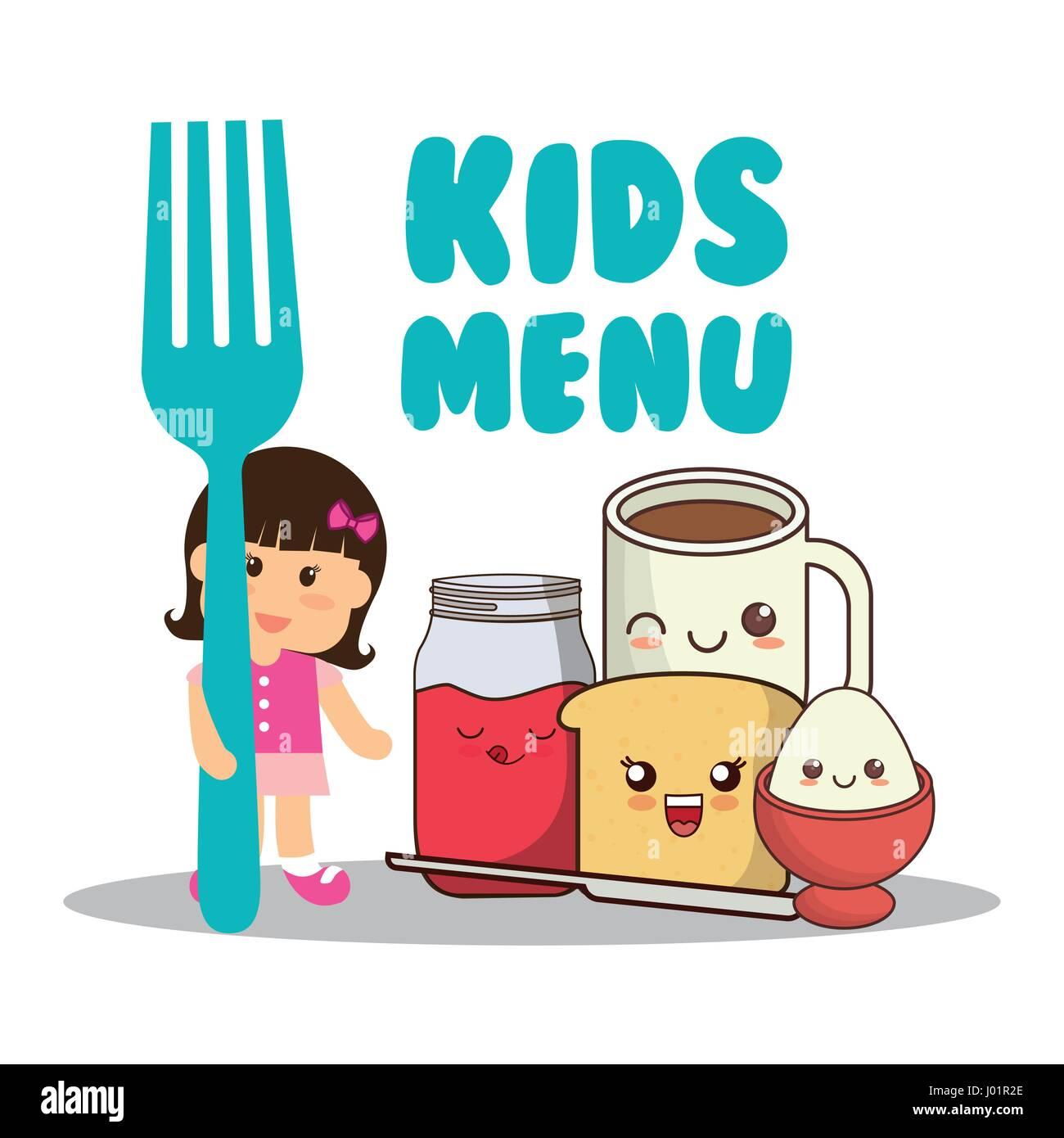 kids menu girl fork breakfast diet - Stock Image