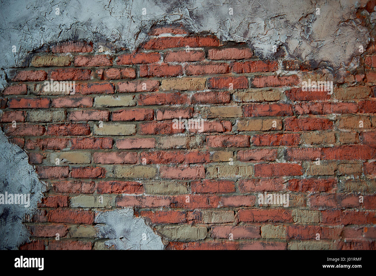 Walls of old red brick  The wall texture  With pieces