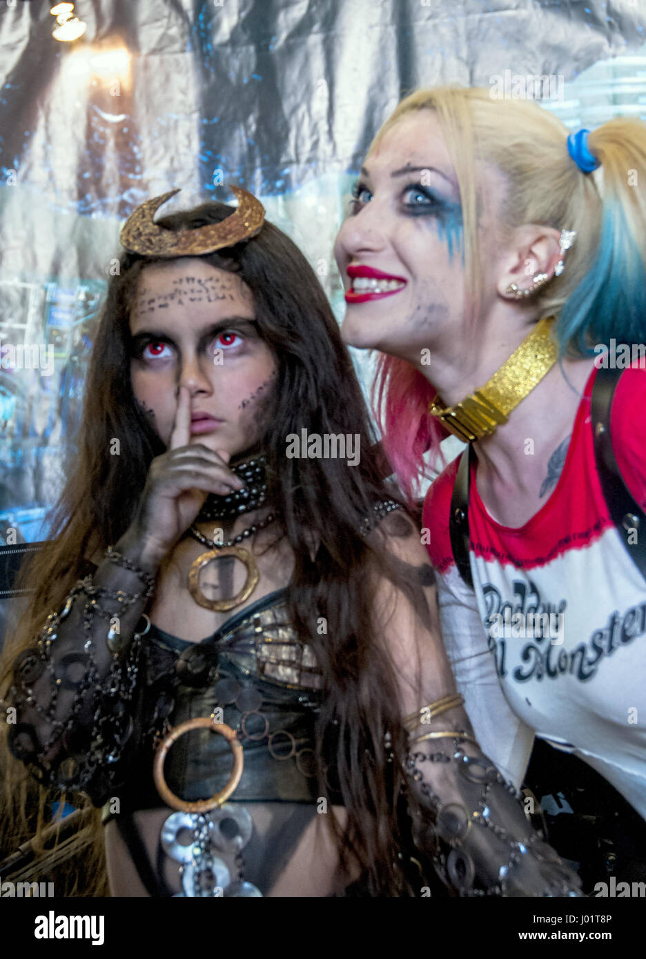 Two Girls Wearing Their Cosplay Costumes From The Movie Suicide