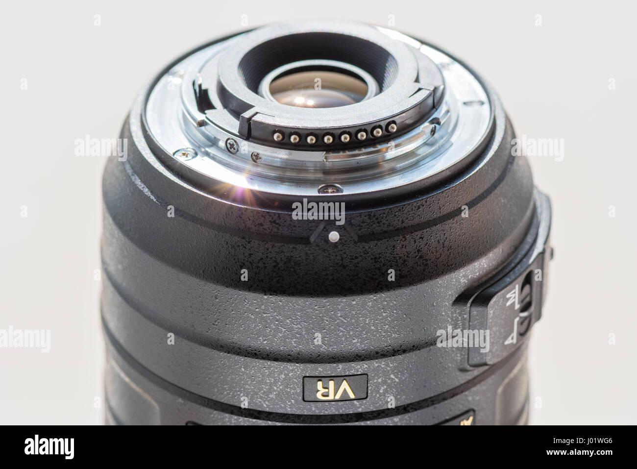 Nikon AF-S DX 55-300mm lens showing rear lens element & mount - Stock Image