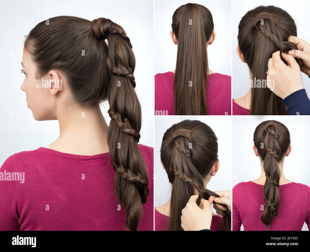 Braided Hairstyle For Party Tutorial Step By Step Beautiful Stock Photo Alamy