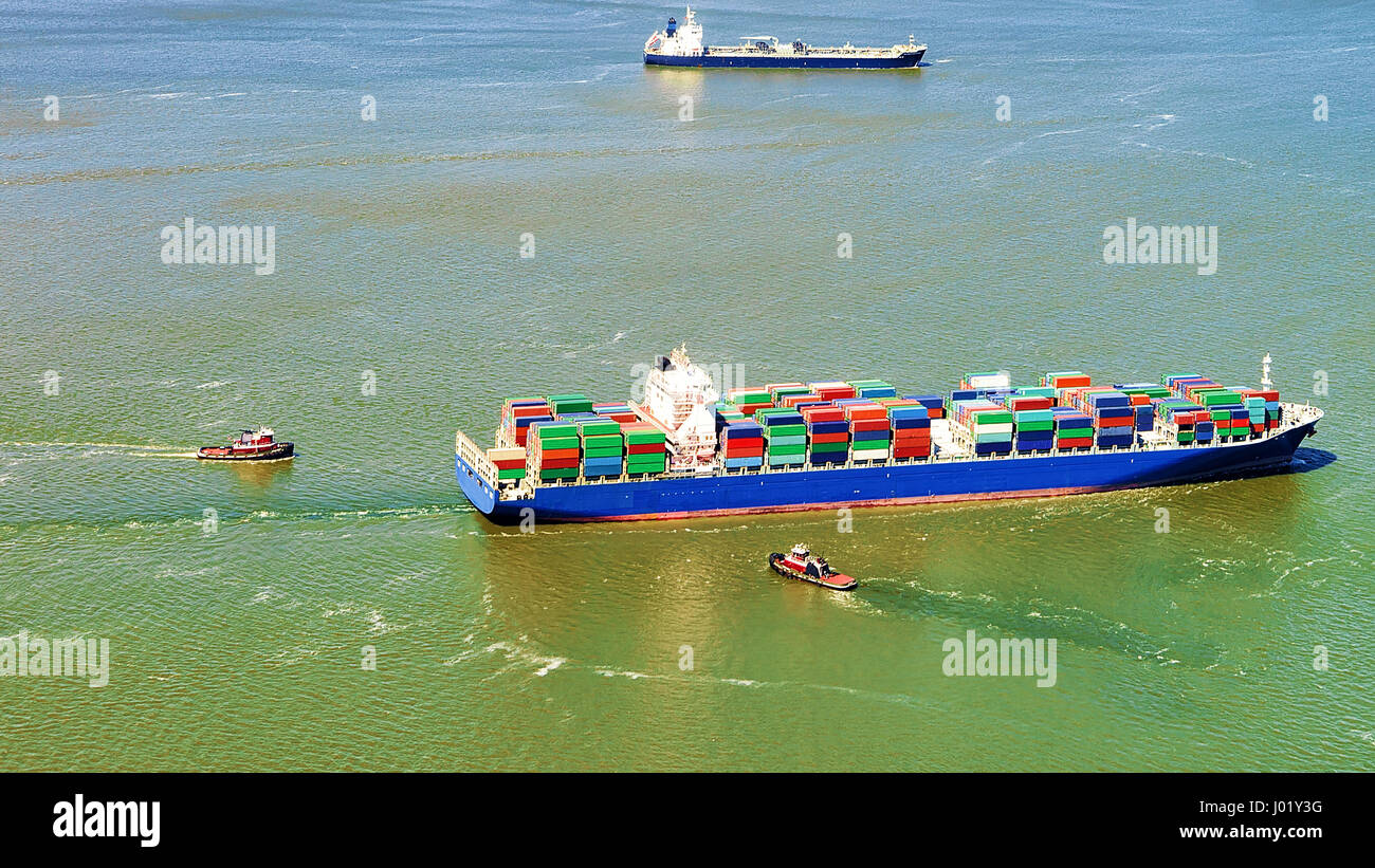 Aerial view of Bayonne Container Ship, NJ, USA Stock Photo