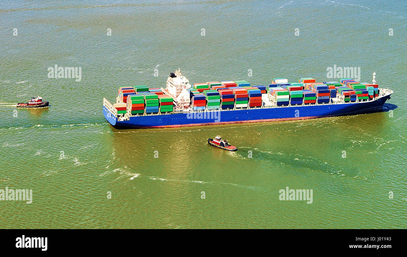 Aerial view to Bayonne Container Ship, NJ, USA Stock Photo