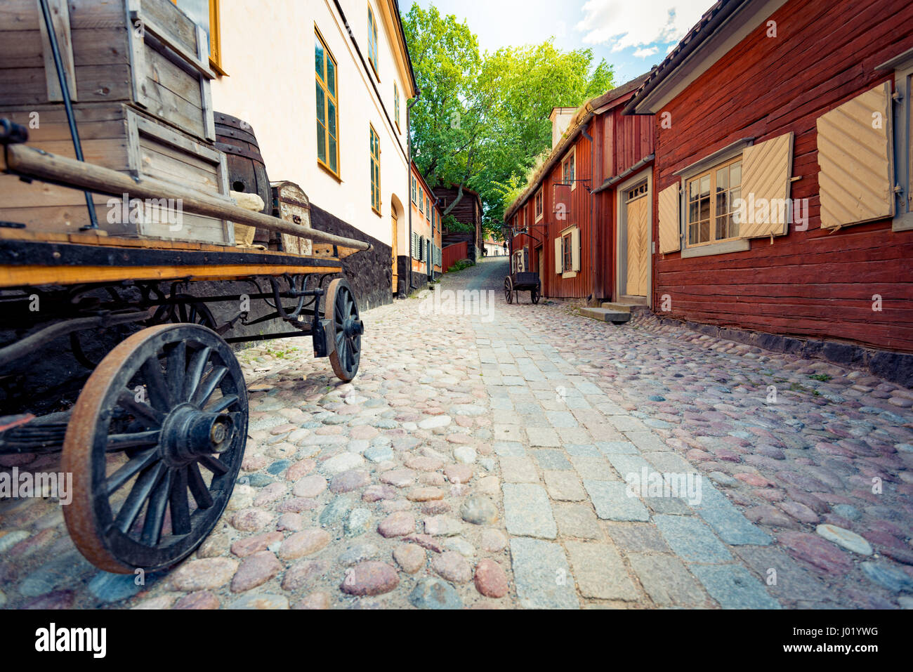Skansen open-air museum and zoo in Sweden located on the island Djurgården in Stockholm. Old swedish traditional - Stock Image