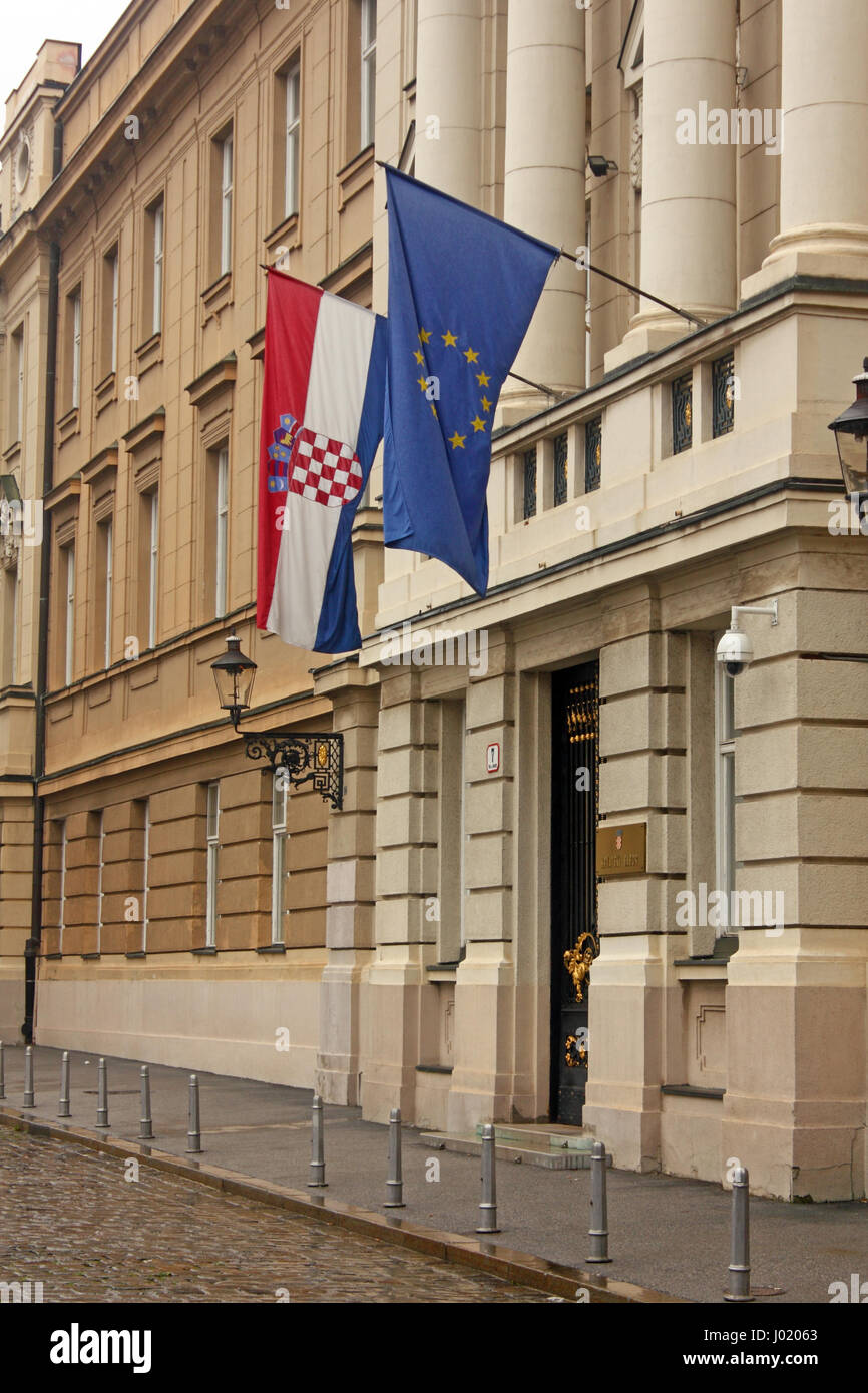 Flags of European Union and Croatia on the building of the Croatian Parliament - Stock Image