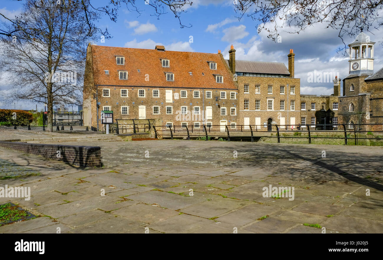 House Mill, Eastend of London near Bromley-by-Bow, on a bright sunny spring day. - Stock Image