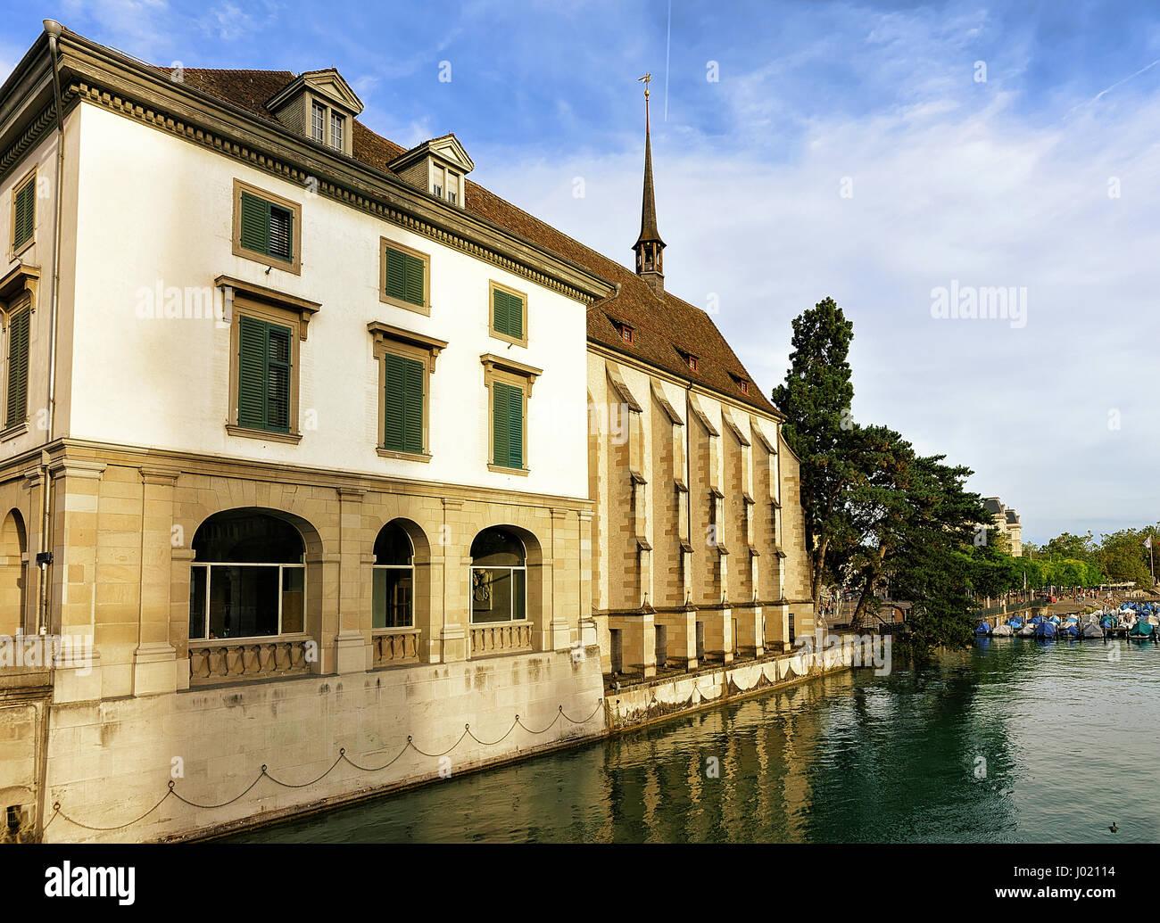 Wasserkirche in Zurich at Limmatquai, Switzerland - Stock Image